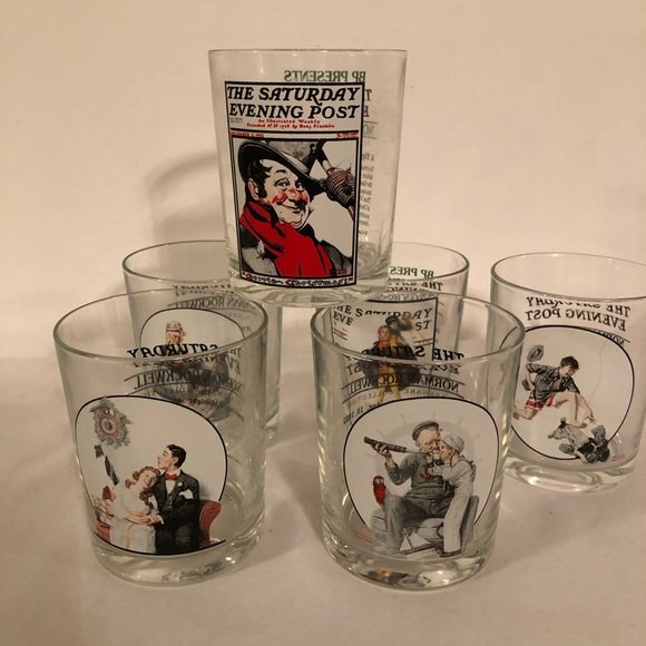 Vintage Norman Rockwell Drinking Glasses Set Of 6